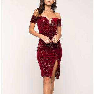 Agaci Red Gold Velvet Dress